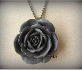 Brown Rose Cabochon Pendant on Antique Brass Chain Necklace - Jewelry by FIVE
