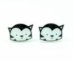 Black Cat Earrings - Sterling Silver Posts Stud Kawaii Cute