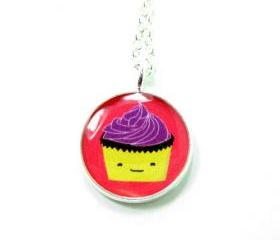 Cupcake Necklace - Pink Purple Kawaii Cute Silver Plated 17 inch