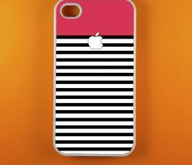 Iphone 4 Case - Pink White Striped Iphone 4s Case, Iphone Case, Iphone 4 Cover