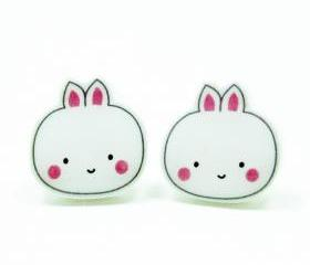 Bunny Earrings - White Sterling Silver Posts Studs Kawaii Cute