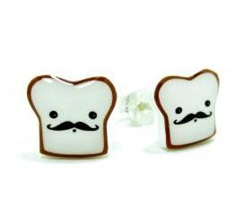 French Toast Earrings - Sterling Silver Posts Studs Kawaii Cute Moustache