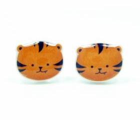 Tiger Earrings - Orange Black Sterling Silver Posts Studs Kawaii Cute