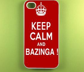 Iphone 4 Case - Keep Calm and Bazinga Iphone 4s Case, Iphone Case, Iphone 4 Cover