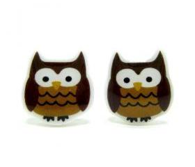 Owl Earrings - Brown Sterling Silver Posts Studs Kawaii Cute