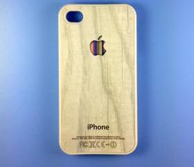 Iphone 4 Case - Colorful Logo on Wood Iphone 4s Case, Iphone Case, Iphone 4 Cover