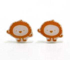 Fluffy Orange Monster Earrings - Sterling Silver Posts Studs Kawaii Cute