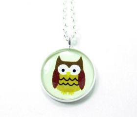 Owl Necklace - Brown Cream Kawaii Cute Silver Plated 17 inch