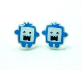 Chomper The Blue Monster Earrings - Sterling Silver Posts Studs Kawaii Cute