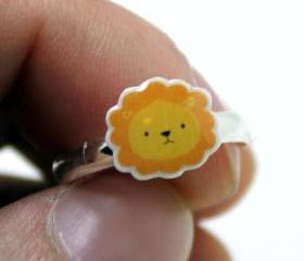 Lion Ring - Yellow Orange Kawaii Cute Silver Plated Adjustable