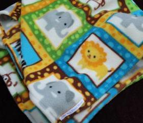 Play Yard Sheet / Blanket Set Fleece Bedding Set for Babies 'Roar... Zoo Animals' Print