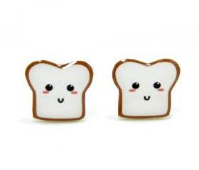 Bread Buddy 1 Toast Earrings - Sterling Silver Posts Studs