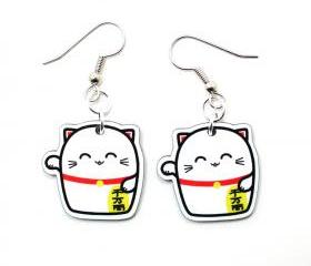 Lucky Cat Acrylic Charm Earrings on Sugical Steel Hooks
