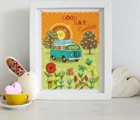 A4 Unframed Illustration Print 'Good Day Sunshine'