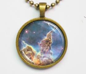 Carina Nebula Necklace -Hubble Telescope Photo Necklace- Galaxy Series