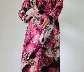 Long Sleeve Dress - Purple Print Evening Gown