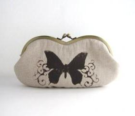 sunglass case- butterfly on beige linen -snap case- frame purse