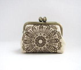 Coin purse- Mini frame jewelry case with ring pillow- brilliant lace on beige