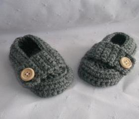 0 to 3 months Baby Medium Grey Gray Loafers Shoes