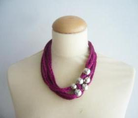 Metallic pink necklace with silver beads new Fall Winter jewelry