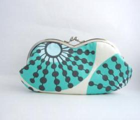 sunglass / eyeglasses case - turquoise flower