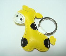 Gil the Giraffe Leather Keychain ( Yellow )