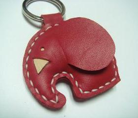 Laura the Elephant Leather Charm ( Red )