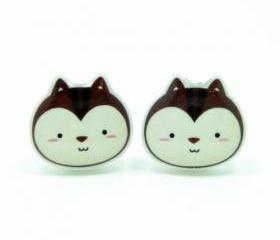 Chipmunk Earrings - Brown Sterling Silver Posts Studs Kawaii Cute