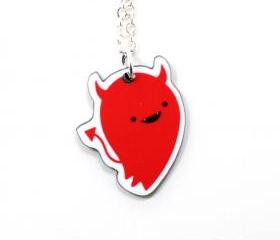 Devil Acrylic Charm Necklace on Silver Plated Chain - Red Kawaii Cute