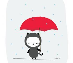 Raining Kitty Print 8x10