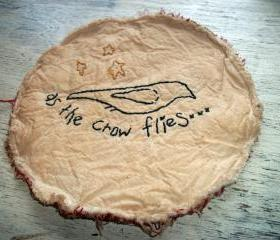 Primitive Candle Mat, Hand Stitched, Crow, As The Crow Flies