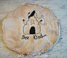 Summer Bee Hive, Crow, Star Candle Mat, Hand Stitched, Primitive