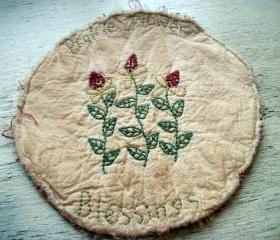 Primitive Candle Mat, Prairie Flowers, Hand Stitched, Spring, Summer
