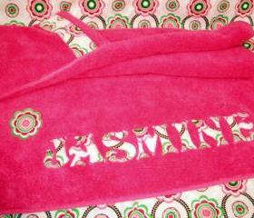 Custom Appliqued Hooded Towel in Pink