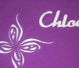 Purple butterfly shirt with name- Handcut traditional and reverse applique
