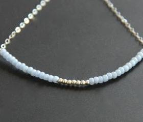 Light Blue Beaded Bracelet Sterling Silver 