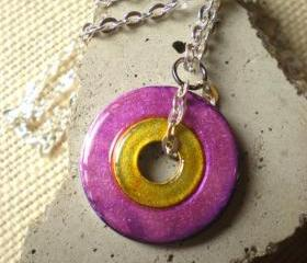 Washer Necklace: Yellow and Purple