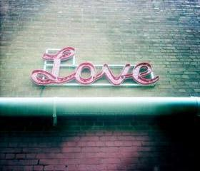 Love Photo Print 5x5 Romantic Home Decor - Pink - Green - Love Sign Photograph