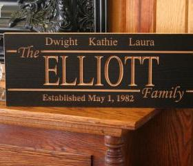 Last Name Sign, Personalized Family Name Sign Marriage Sign Retro Style Sign Carved Wooden Sign Custom Personalized Sign, 7 x 18 E