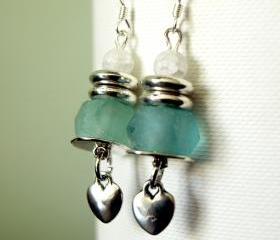 Blue Recycled Glass & White glass Earrings with Heart Charm