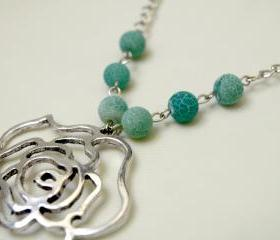 Silver Filigree Flower Pendant With Blue Turquoise Agate