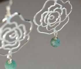 Silver Dangle Earrings Flower Filigree and Blue Agate