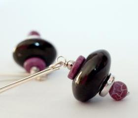 Dangle earrings-Jet Stone, Agate, Silver & Ceramic Pink and Black Earrings