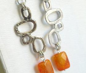 Large Geometric Orange Earrings - Dangle Earrings