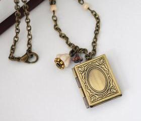 Book Locket Necklace Floral Locket Photo Locket Necklace Flower Necklace Vintage Inspired Lovely book locket floral necklace