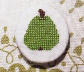Green pear cross stitch brooch