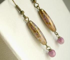 Dangle Earrings-Golden Patine and Lilac Glass Earrings