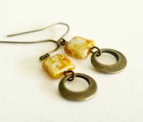 Boho Yellow Earrings-Brass Hoops and Beige Marble Square Czech Glass Earrings