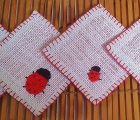 Trailing Beetles Coaster Set of 4 in Red & Off White Felt
