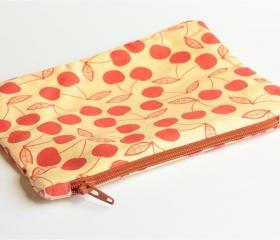 Zipper Pouch - Cherries with Brown Zipper
